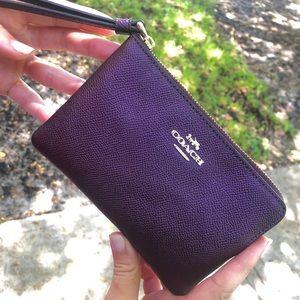 Coach Purple Metallic Wristlet Clutch